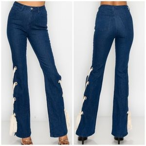 Boot cut high waist bottom laced jeggings